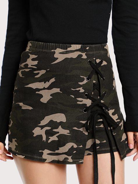 Shop Grommet Lace Up Camo Skort online. SheIn offers Grommet Lace Up Camo Skort & more to fit your fashionable needs.