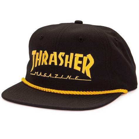 84c3141b963fe Thrasher Logo Rope Snapback Black Yellow