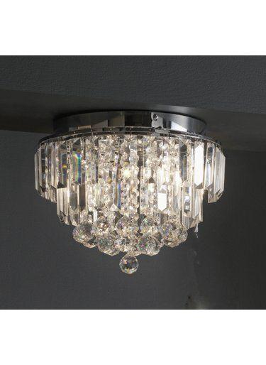 Crystal Gl Flush Ceiling Light