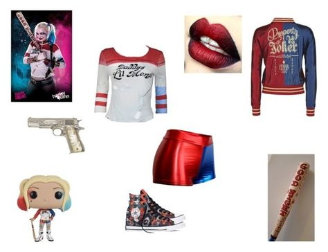 """Harley Quinn Inspired"" by demonlover2002 ❤ liked on Polyvore featuring Converse"