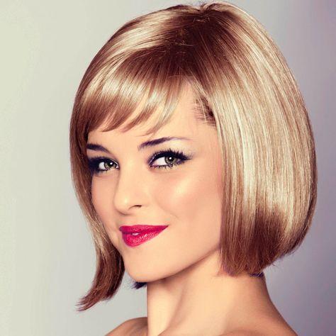 Caramel Blonde Haare Als Kinnlanger Bob Mit Pony Blonder