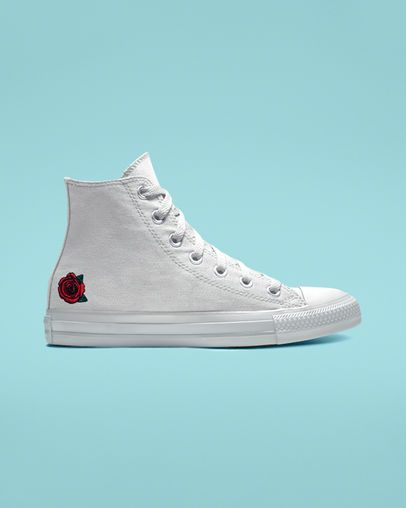Custom black converse rose all star high tops | Black high