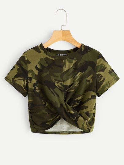 To find out about the Twist Hem Camo Print Tee at SHEIN, part of our latest T-Shirts ready to shop online today!