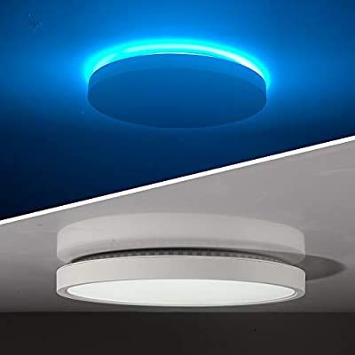 Taloya Led Flush Mount Ceiling Light With Back Atmosphere Light Ice Blue 24w Round 12 Inch Low Surface Mounted Light Fixture Led Flush Mount Ceiling Lights