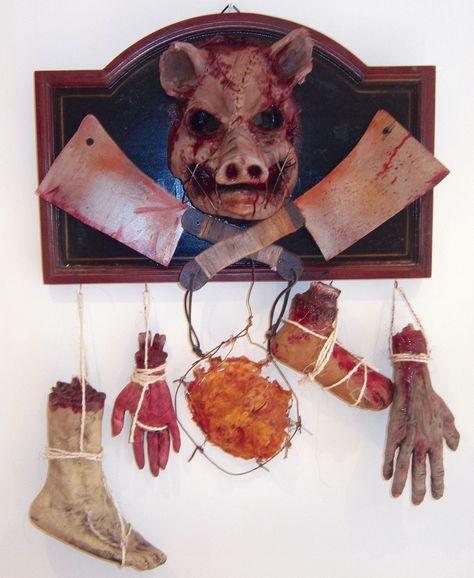 Jumbo Fake Slaughtering Hook Costume Prop Haunted Butcher Meat Shop Scarecrow