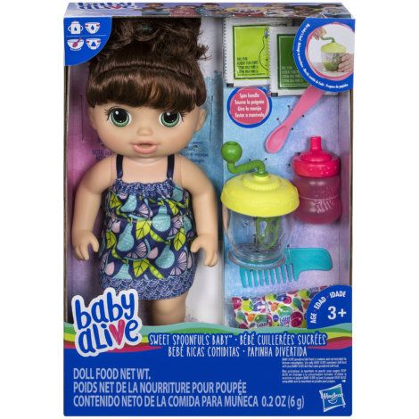 Hasbro Baby Alive Brown Hair Sweet Spoonfuls Baby Doll Girl Baby Alive Dolls Baby Dolls For Kids Baby Doll Nursery