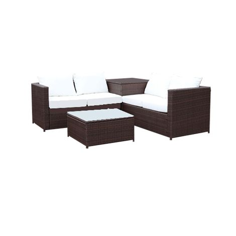 Silang Marron Blanc Salon De Jardin En Resine Tressee 4 Personnes Avec Coffre Integre 210684 Outdoor Furniture Sets Outdoor Furniture Home Decor