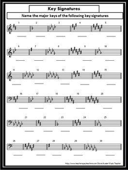 Key Signature Worksheets: one for all major key signatures and one for all minor key signatures. Answer sheet included.   $