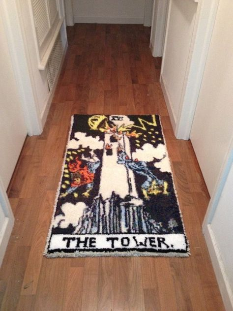 The Tower Tarot Card, Punch Needle Patterns, Latch Hook Rugs, Home Room Design, Hand Tufted Rugs, Cool Rugs, Diy Bedroom Decor, Home Decor, Handmade Rugs