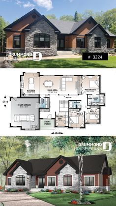 Discover The Plan 3224 Dambroise Which Will Please You For Its 3 4 Bedrooms And For Its Ranch Styles House Blueprints 4 Bedroom House Plans New House Plans