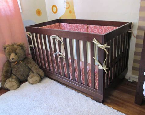 Velcro 3 Sided Crib Skirt Moveable As The Mattress Is Lowered Diy Crib Cribs Project Nursery