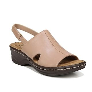 Womens leather wedge sandals