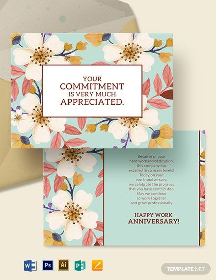 Work Anniversary Card Template Word Doc Psd Apple Mac Pages Illustrator Publisher Work Anniversary Cards Business Card Template Design Work Anniversary