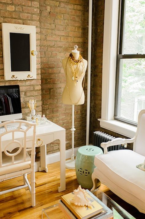 With Love From Kat - dens/libraries/offices - Bungalow 5 Jacqui Desk, Bungalow 5 Chloe Chair, white desk, white desk with brass hardware, wh...