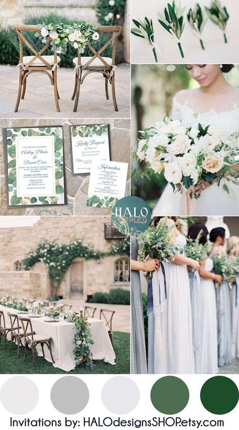 Green Wedding Colour Schemes Grey Platinum White Smoke from summer wedding color palette, best Spring Wedding Colo