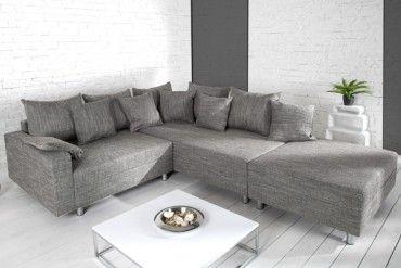 Design Ecksofa Mit Hocker Loft Strukturstoff Grau Federkern Sofa