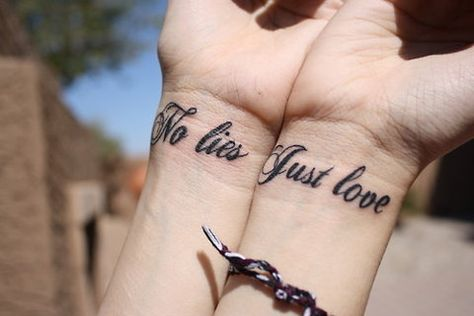 Love No Lies Tattoo Text Matching Tattoos Matching Couple
