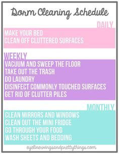 The Ultimate Guide To Keeping Your Dorm Room Clean. College ChecklistCollege  ... Part 65