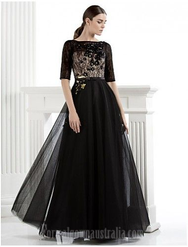 Australia Formal Dress Evening Gowns Black Plus Sizes Dresses Petite A Line Bateau Long Floor Length Lace Dress Tulle Evening Dresses Dresses Black Tie Gala Dress