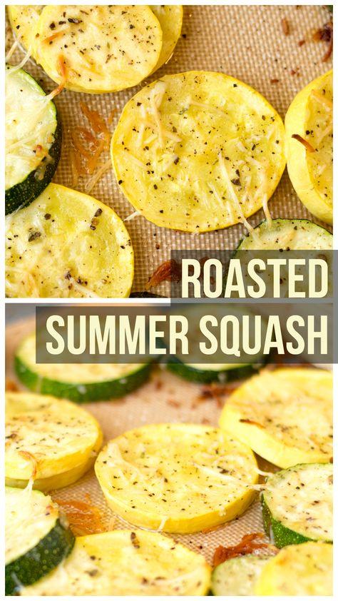 Garlic Parmesan Roasted Summer Squash