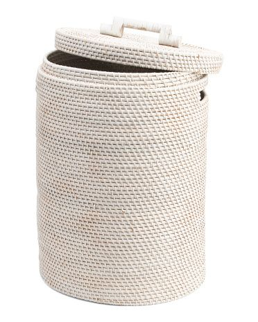 Made In Indonesia Medium Rattan Laundry Basket Storage T J