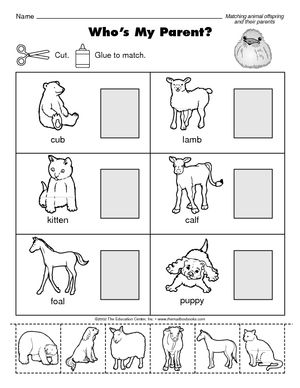 Printable Animal Matching Worksheet Mother And Baby Animals Animal Crafts Preschool Animal Lessons