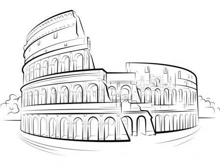 Drawing Colosseum Rome Italy Stock Vector Sponsored Rome