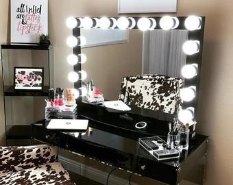 Makeup Vanity Etsy Mirror With Lights Hollywood Mirrored Table