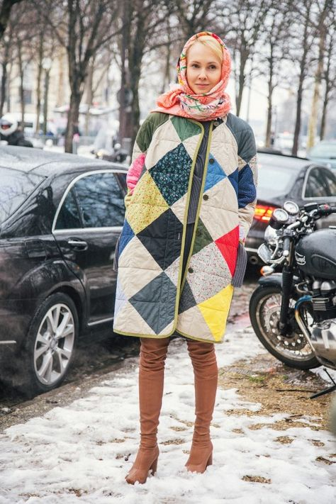 such a cute patchwork quilted coat!