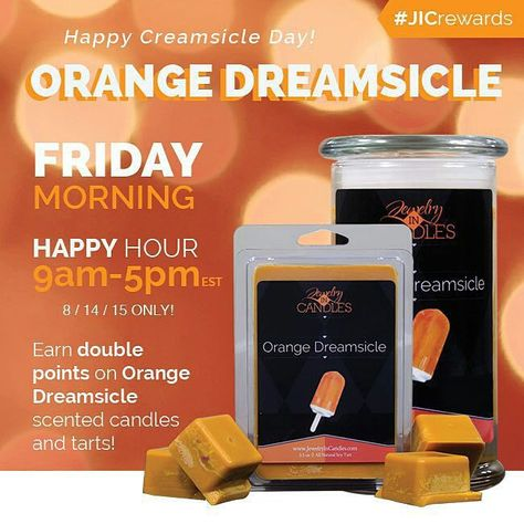 Happy #NationalCreamsicleDay!  In honor of the refreshing #summertime treat earn DOUBLE POINTS on all #Orange Dreamsicle #candles and #tarts today until 5pm EST.  Happy #Friday!   #jicbyjulie #rewards #jicscents #repost #regrann
