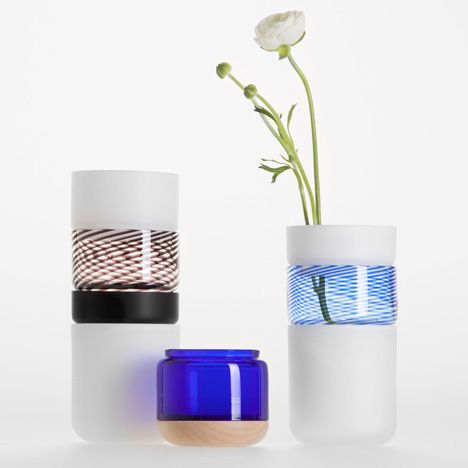 Sections of these glass vases can be stacked and swapped to create different vessels for flowers.