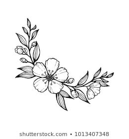 doodle hand draw flowers for decoration and coloring, round