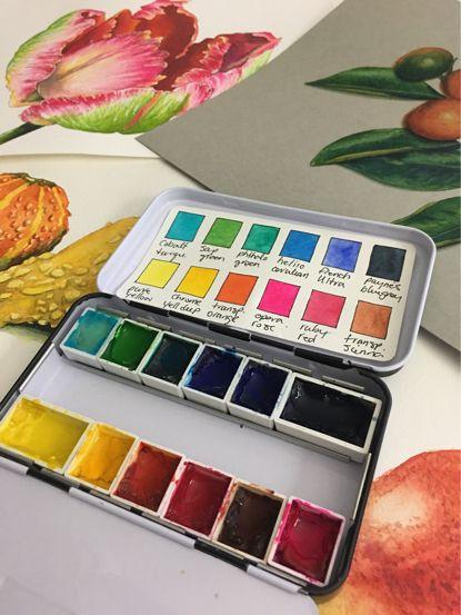 Split Primary Palette Warm Cool Colors Watercolor Pallet