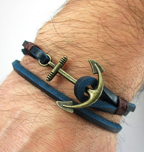 Men Leather Bracelet ,Dark Blue Leather,Brown Rope,Unisex Bracelet, Bronze Plated Anchor Bracelet, Anchor Leather Bracelet, Mens Bracelets  MEASUREMENT: Select the measure on your wrist from Optimum Measurement Table. Measure the dimensions of wristbands in a straight line in this table. To achieve the best results, wrap your wrist with a rope and after that you can measure this rope and a ruler. PLEASE DO NOT ADD EXTRA SPACE when measuring  16 cm - 6.3 inches 17 cm - 6.7 inches 18 cm - 7.1…