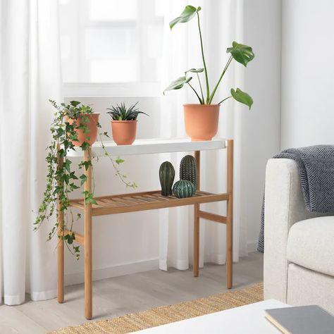 SATSUMAS Plant stand - bamboo, white - IKEA