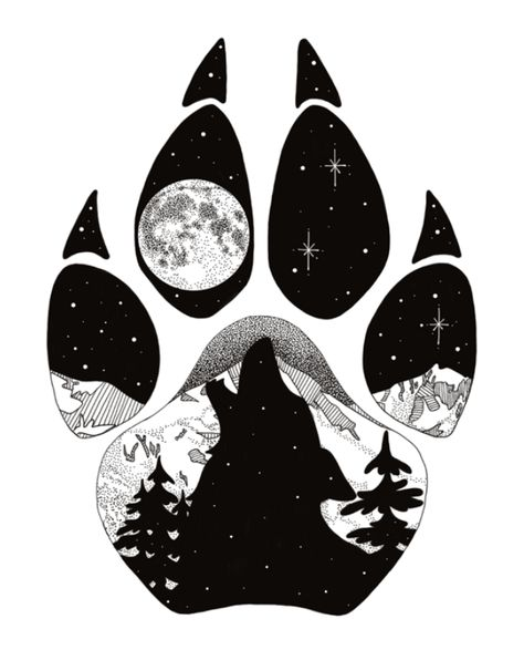Wolf Tattoos 60480 Howl at the Moon, wolf paw print with howling wolf inside and Mt. Original Medium: Digital Drawing using Adobe Sketch. Artist: Cherie L Smittle Cool Art Drawings, Animal Drawings, Art Sketches, Tattoo Sketches, Cool Drawing Designs, Drawing Ideas, Amazing Drawings, Howling Wolf Tattoo, Wolf Howling Drawing
