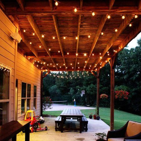 48FT Outdoor LED String Lights For Wedding Party Waterproof Garden Lamp Lightweight String Lamp Lawn Patio Decoration US Plug, Black