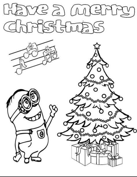 kleurplaat minions kerst  xmas malen kids  minions