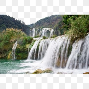 Green Hills And Green Waters Waterfalls Green Water Waterfall Beautiful Scenery Png Transparent Clipart Image And Psd File For Free Download Waterfall Landscape Waterfall Scenery Waterfall
