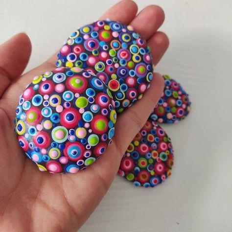 Set of 4 candy polka dot stones dotart painted rock   Etsy