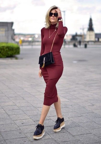 Knit Turtleneck Dress - How to Wear Oxford Shoes Like the Fashion Badass You Are - Photos