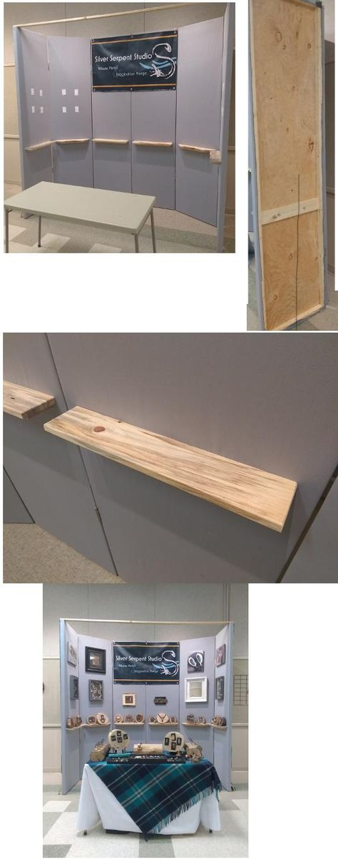 I suppose this is more like carpentry than fine woodworking but I'm still proud of it. I built a modular portable booth wall for my wife to use at her art shows. I made floating shelves and interchangable mounting spots for cases mirrors etc. Here is it's first use at our local art museum. #wood #woodworking #woodworkingprojects #woodworkingideas #art #decoration #decorationideas