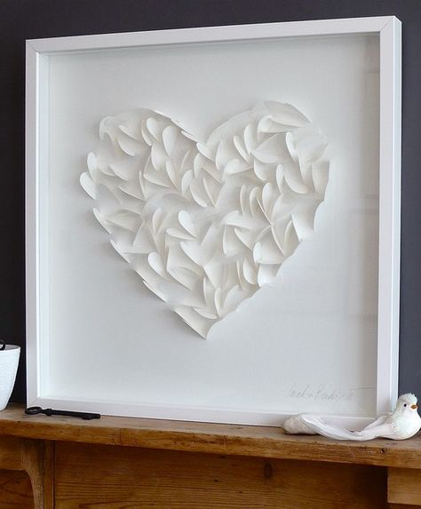 Current delivery time 10 -14 days. Large white paper heart created from lots of smaller hearts. Unique and handmade with soft details. The