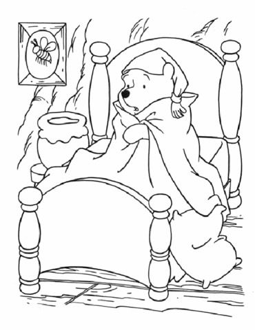 Sick Winnie The Pooh In Bed Coloring Page With Images Cartoon