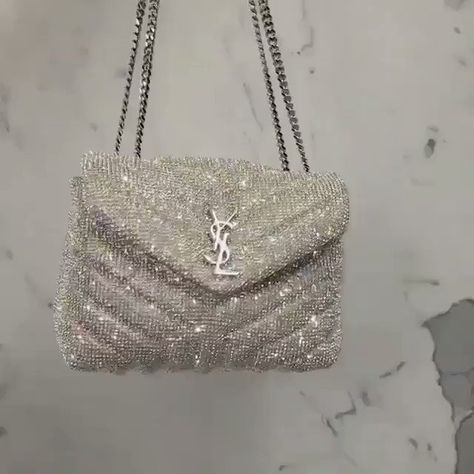 YSL SAINT LAURENT Loulou small crystal-embellished quilted leather shoulder bag Luxury Bags, Luxury Handbags, Chanel Handbags, Purses And Handbags, Chanel Bags, Louis Vuitton Handbags, Sac Yves Saint Laurent, Saint Laurent Handbags, Video Vintage