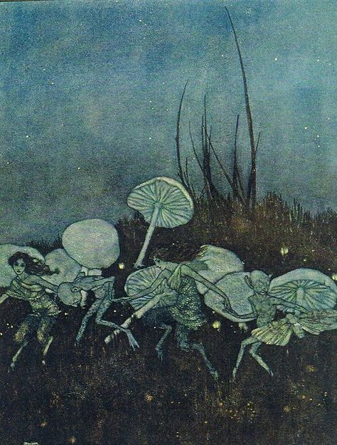 Faerie Dance and Mushrooms - Arthur Rackham Edmund Dulac, Arthur Rackham, Art And Illustration, Illustrations, Tag Art, Fairy Ring, Fairytale Art, Fairy Art, Book Fairy