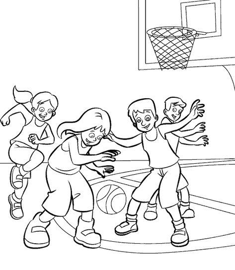 Deti Igrayut V Basketbol Raskraska Sport Olimpiada Raskraski Risunki Dlya Raskrashivaniya Basketbol