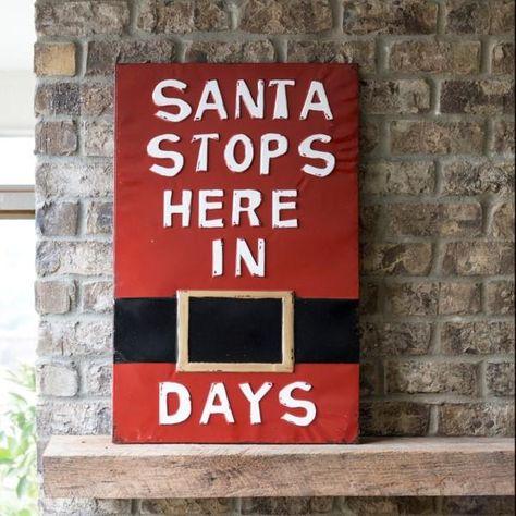Vintage Embossed Metal Santa Stops Here Sign