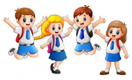 Nino Feliz Usando Uniforme Que Va A La Escuela Ilustracion De Stock Ninos Felices Fondos De Dibujos Animados Grupo De Ninos