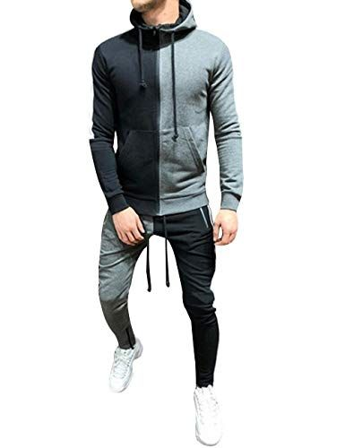 Mens Tracksuit Set Full Zipper Patchwork Hoodie Hip Hop Premium Slim Fit Track Jogger Pants with Side Taping